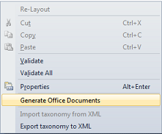 Generate Office documents to autor the taxonomy easily